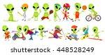 set of green aliens wearing... | Shutterstock .eps vector #448528249