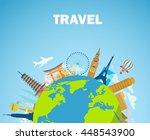 architectural landmarks of the... | Shutterstock .eps vector #448543900