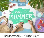 hello summer beach vacation... | Shutterstock . vector #448548574
