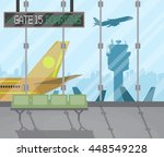 airport terminal with seats ... | Shutterstock .eps vector #448549228
