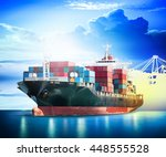 container cargo ship with ports ... | Shutterstock . vector #448555528