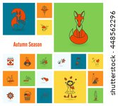 set of flat autumn icons.... | Shutterstock .eps vector #448562296