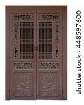 vintage wooden brown door... | Shutterstock . vector #448597600