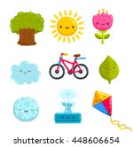 cute cartoon park objects  ... | Shutterstock .eps vector #448606654