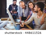 creative coworkers smiling... | Shutterstock . vector #448611526