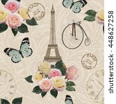 seamless paris travel wallpaper.... | Shutterstock .eps vector #448627258