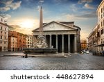 Pantheon In Rome At The Sunset...