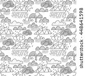 doodle clouds seamless pattern... | Shutterstock .eps vector #448641598