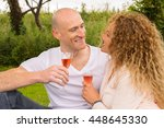 outdoor picnic by couple that... | Shutterstock . vector #448645330
