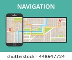 phone with mobile gps... | Shutterstock .eps vector #448647724