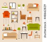 set of vector furniture for... | Shutterstock .eps vector #448662829