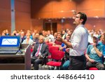 speaker giving a talk on... | Shutterstock . vector #448664410