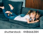 children using tablet. two... | Shutterstock . vector #448666384
