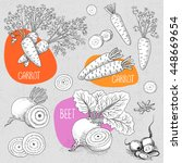 set of stickers in sketch style ... | Shutterstock .eps vector #448669654