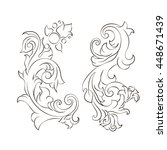 vektor curl. foliage swirl... | Shutterstock .eps vector #448671439
