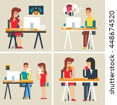office situations  workday ... | Shutterstock .eps vector #448674520