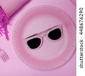 Small photo of Pink Accent. Sunglasses. Minimalism Fashion.
