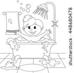 boy in the bathroom. black and... | Shutterstock .eps vector #448680478