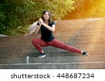 the girl does an extension in... | Shutterstock . vector #448687234