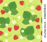 seamless pattern of strawberry... | Shutterstock .eps vector #448690810