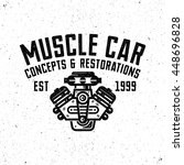 muscle car garage retro style... | Shutterstock .eps vector #448696828