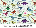 funny dinosaurs graphic color... | Shutterstock .eps vector #448701928