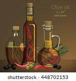 bottles of olive oil with... | Shutterstock .eps vector #448702153