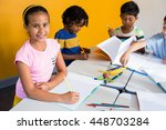 cute girl with classmates in... | Shutterstock . vector #448703284