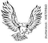 monochrome eagle during landing ... | Shutterstock .eps vector #448709860