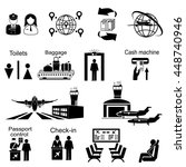 icons set of different airport ... | Shutterstock .eps vector #448740946