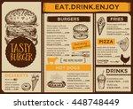 menu placemat food restaurant... | Shutterstock .eps vector #448748449