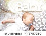 cute sleeping baby boy | Shutterstock . vector #448757350