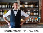 portrait of confident waiter... | Shutterstock . vector #448762426