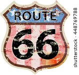 retro route sixty six road sign ... | Shutterstock .eps vector #448769788