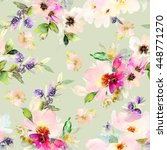 seamless pattern with flowers... | Shutterstock . vector #448771270