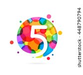 number five logo with rainbow... | Shutterstock .eps vector #448790794