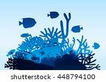 vector illustration of sea life ... | Shutterstock .eps vector #448794100