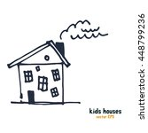 kids style houses illustration... | Shutterstock .eps vector #448799236
