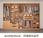 wooden wardrobe closet full of... | Shutterstock . vector #448801669