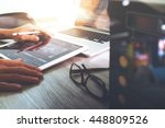 website designer working stylus ... | Shutterstock . vector #448809526