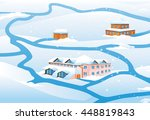 winter landscape  8 . house on... | Shutterstock .eps vector #448819843