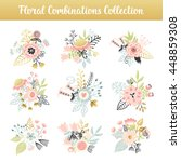 floral combinations hand drawn... | Shutterstock .eps vector #448859308