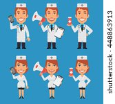 doctor and nurse holding... | Shutterstock .eps vector #448863913