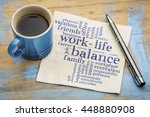 Small photo of work life balance word cloud - handwriting on a napkin with a cup of coffee