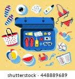 summer seaside vacation vector... | Shutterstock .eps vector #448889689