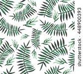 watercolor deep green ferns... | Shutterstock . vector #448900393