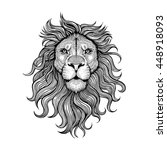 Stock vector vector black and white tattoo lion illustration 448918093
