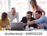 businessman explaining to... | Shutterstock . vector #448932220