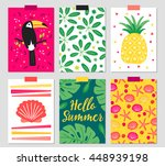 set of six greeting cards with... | Shutterstock .eps vector #448939198