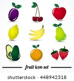 fruit icon set. icons isolated... | Shutterstock . vector #448942318